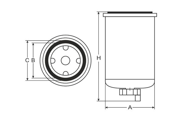 st 6106 fuel filter sct